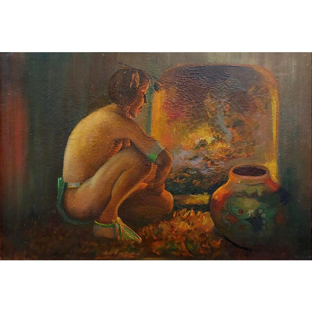 "Native American Taos Pueblo ""Indian by the Fireplace"" Native American Oil Painting For Sale - Image 3 of 9"
