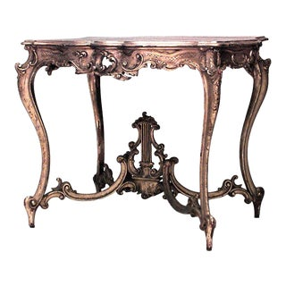 French Louis XV Gilt Lyre Center Table For Sale