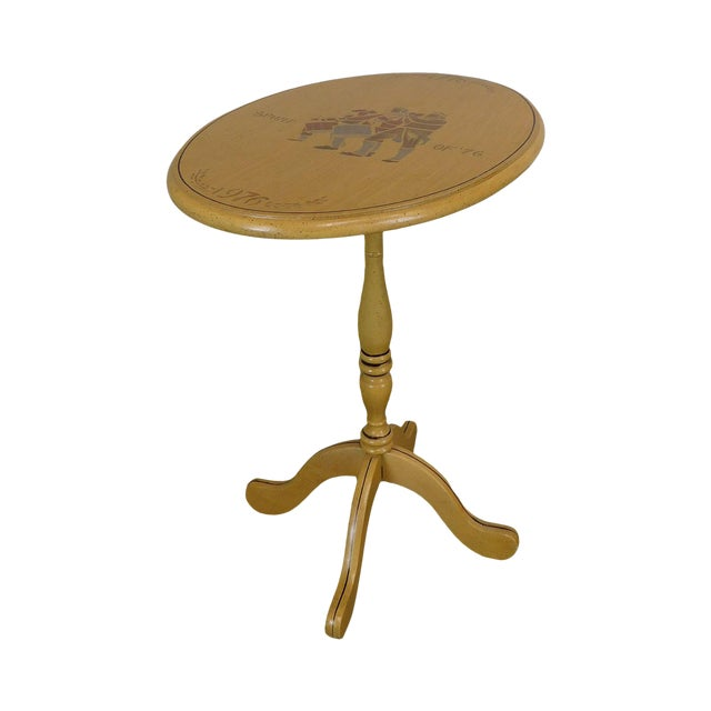 Bicentennial Colonial Yellow Stenciled Tilt Top Oval Side Table by Lock For Sale