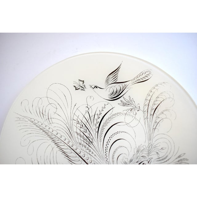 Early 21st Century John Derian Style Decoupage Glass Plate With Calligraphy Birds For Sale - Image 5 of 7