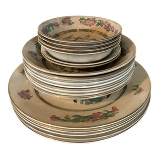 1930's Vintage English Staffordshire Indian Tree Dishes- Set of 18 For Sale