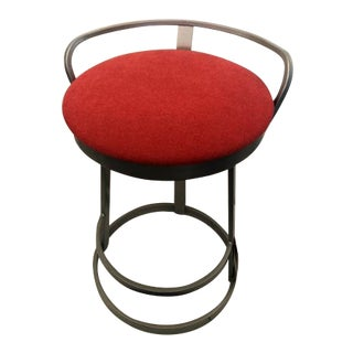 Contemporary Pink Upholstered Swivel Counter Stool For Sale