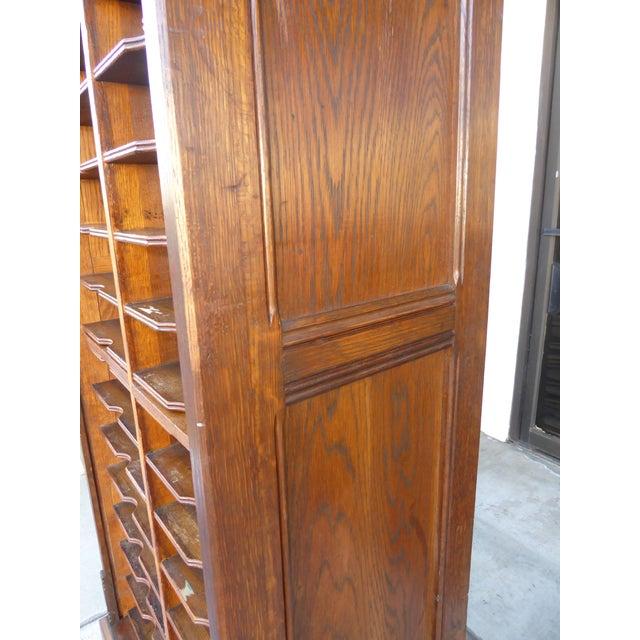 Wood Antique Oak File Cabinet W Rollup Tambour Door For Sale - Image 7 of 11 - Antique Oak File Cabinet W Rollup Tambour Door Chairish