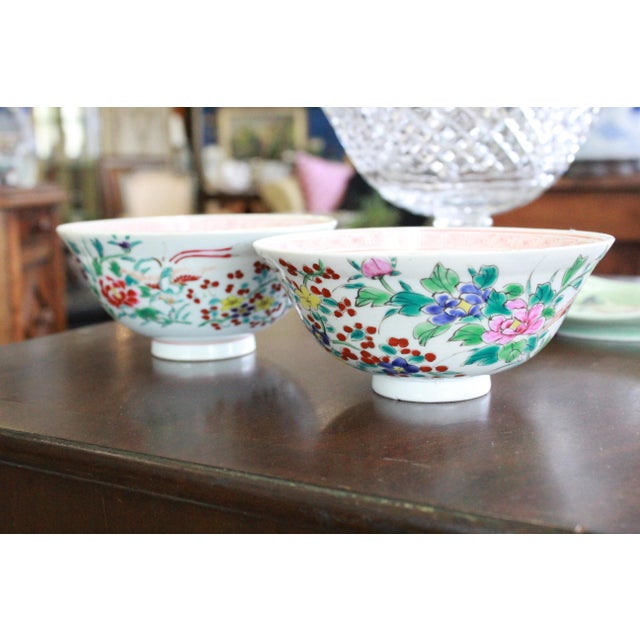Green 19th Century Vintage Rice Bowls - a Pair For Sale - Image 8 of 8