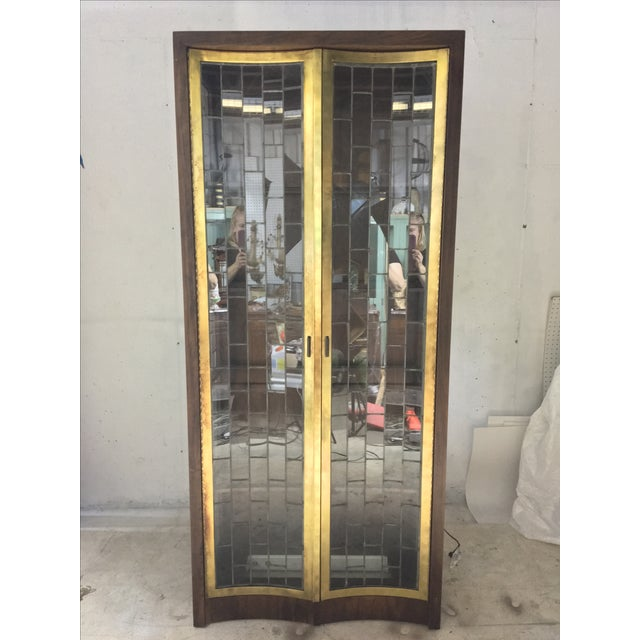 Heritage Mid-Century Modern Brass & Lead Glass Cabinet - Image 4 of 6