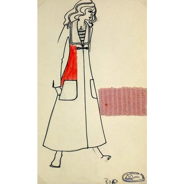 Vintage Paris Fashion Drawing - Knit Overcoat, C. 1980 For Sale