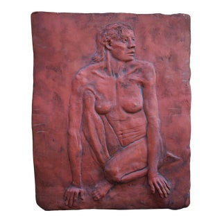 Modern Folk Art Outsider Terracotta Wall Plaque With Female Nude Relief For Sale