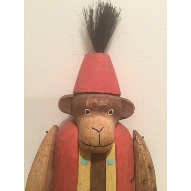 """Boho Chic 1930s Folk Art Wooden Hand Carved Monkey """"Puppet"""" For Sale - Image 3 of 9"""