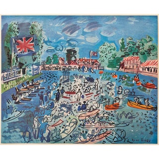 "1940s Raoul Dufy, Original Period ""Regatta at Cow-On-Thames"" Lithograph From Geneva For Sale"