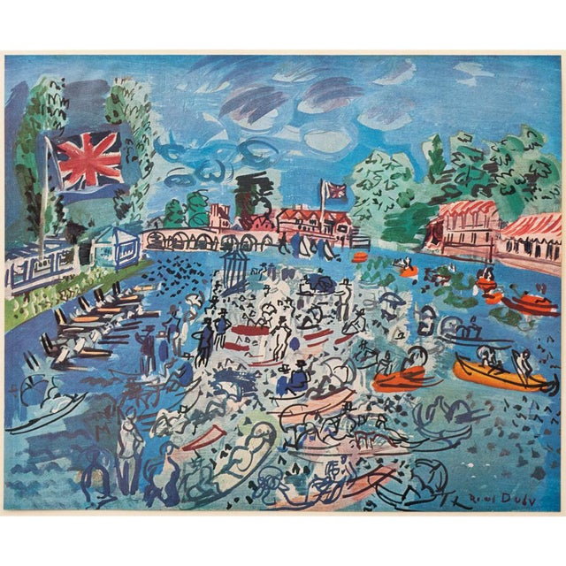 """1940s Raoul Dufy, Original Period """"Regatta at Cow-On-Thames"""" Lithograph From Geneva For Sale"""