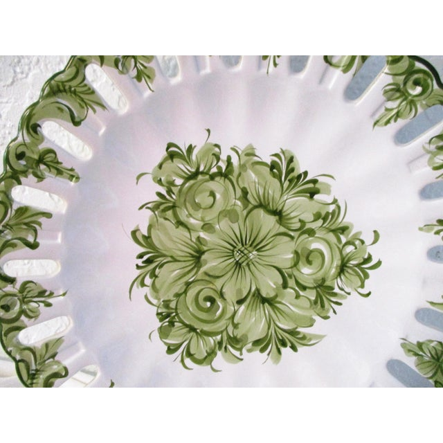 Vintage Portuguese Green Floral Serving Plate For Sale - Image 4 of 7