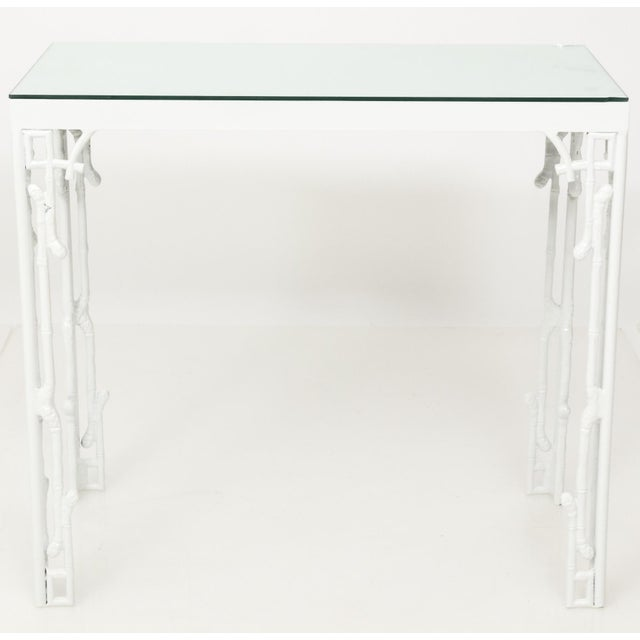 Chinoiserie White Metal Bamboo Style Console and Bench For Sale - Image 11 of 12