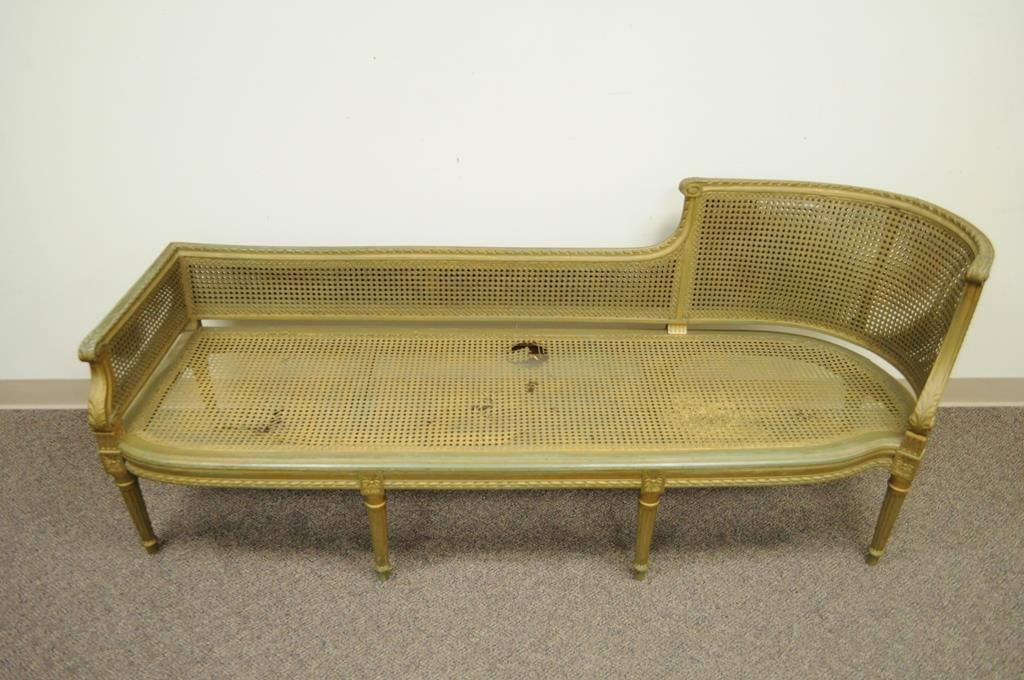 Antique French Louis XVI Style Caned Chaise Lounge Recamier Fainting Couch  Sofa   Image 5 Of