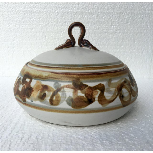 Contemporary Vintage Studio Pottery Lidded Dish For Sale - Image 3 of 7