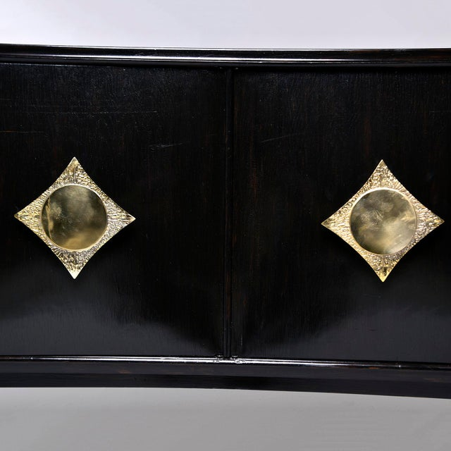 Gold Italian Ebonised Sideboard With Brass Knobs For Sale - Image 8 of 13