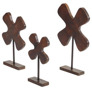 Wooden Elements on Stands - Set of 3 For Sale