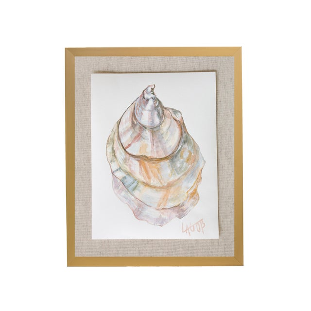 """Contemporary Contemporary Oyster Watercolor Painting on Paper """"East Coast Vi"""" by Leigh-Anne O'Brien (Lagob), Framed For Sale - Image 3 of 3"""
