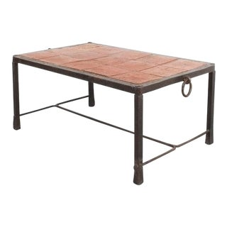 Artisan Wrought Iron Terracotta Coffee Table, France, 1950 For Sale
