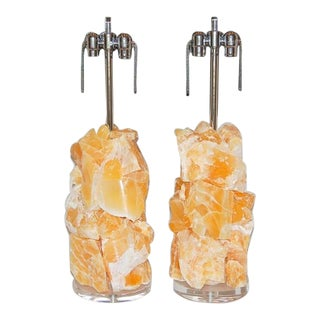 Stone Rock Lamp Sculptures in Orange Calcite For Sale