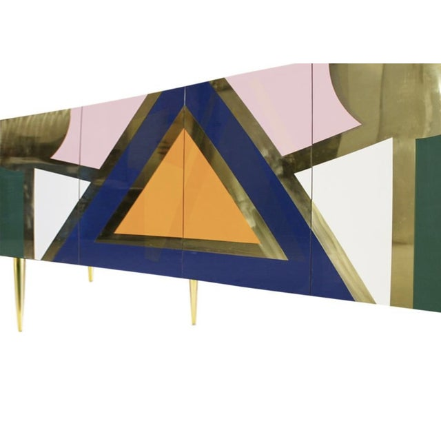Handmade 'Yucatan' High Gloss Lacquered Wood and Brass Sideboard For Sale - Image 4 of 6