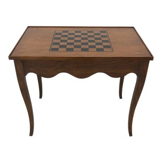 Vintage French Style Checkerboard Backgammon Burl Wood Game Table For Sale
