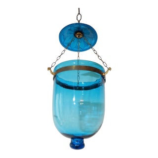 19th Century Cobalt Blue English Bell Jar Lantern Chandelier For Sale