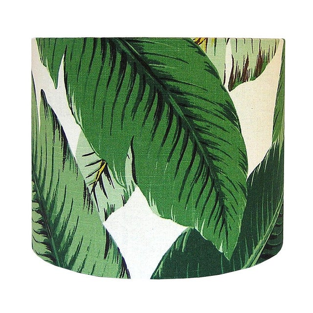 Boho Chic Swaying Palms Green Drum Lamp Shade For Sale - Image 3 of 4