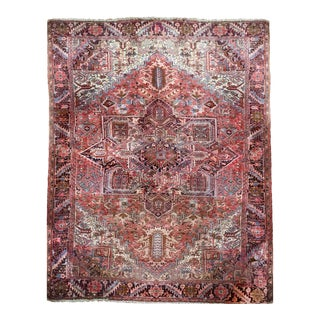Vintage Soft Pink Boho Persian Rug - 10′ × 13′ For Sale