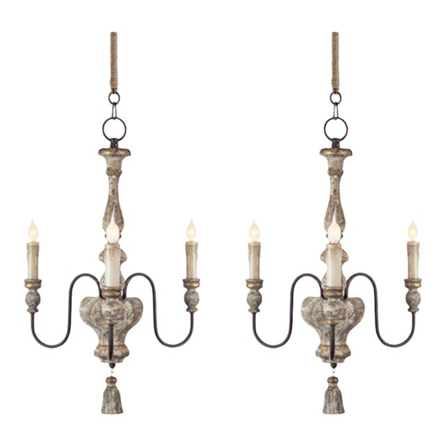 Pair of Italian Style, Three-arm Chandeliers With Tassel Detail For Sale