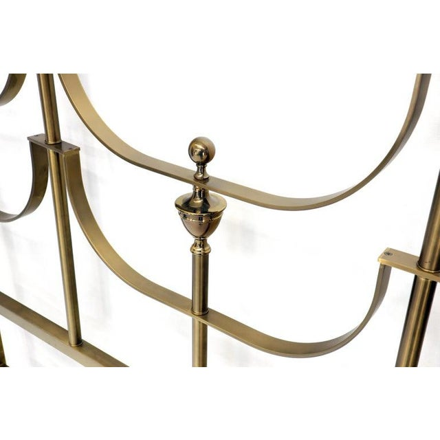 Solid Brass Mastercraft King Size Tall Headboard Bed For Sale - Image 6 of 10