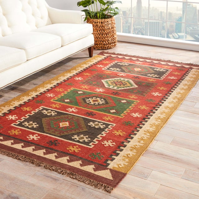 2010s Jaipur Living Amman Handmade Geometric Red/ Gold Area Rug - 5′ × 8′ For Sale - Image 5 of 6