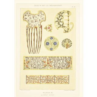 1902 French Art Nouveau Jewelry Design Lithograph For Sale