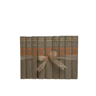 Vintage Decorative Book Gift Set: Grey & Orange Novels