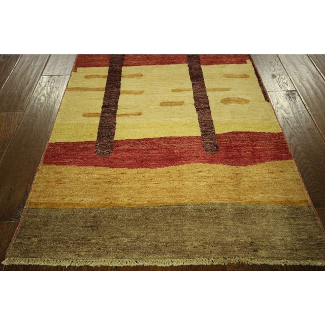 "Abstract Modern Runner Gabbeh Rug - 2'6"" x 10'1"" - Image 5 of 9"