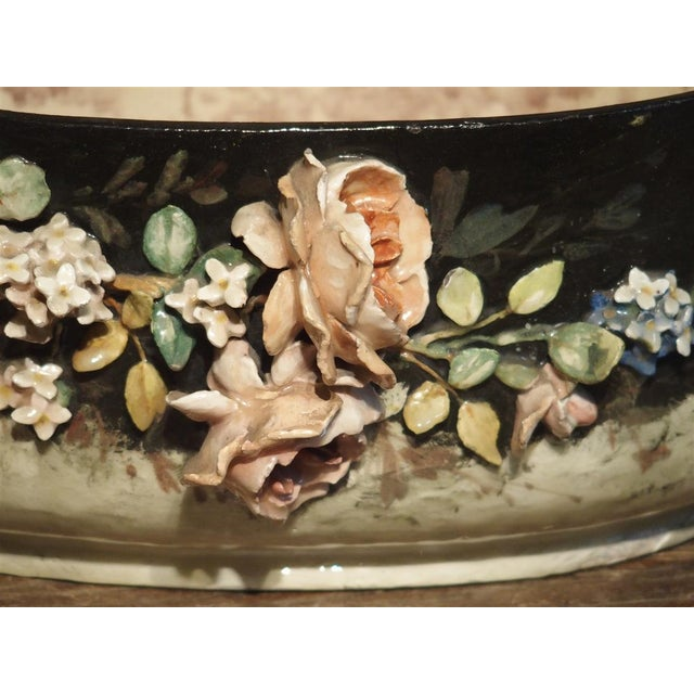 Circa 1880 Edouard Gilles Barbotine Jardiniere From France For Sale In Dallas - Image 6 of 13