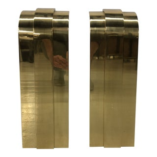 Karl Springer Solid Brass Modernist Andirons For Sale