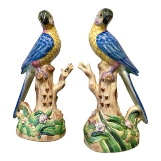 Porcelain Hand Painted Parrot Statues - a Pair For Sale