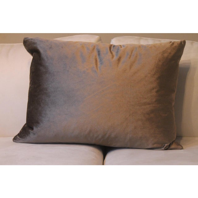 Gray Velvet Pillows - a Pair For Sale - Image 4 of 7