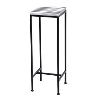 Contemporary Ellsworth Acrylic Drinks Table – Base: European Blue, Top: Shards and Stripes Navy/Midnight For Sale