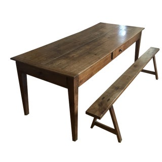 19th Century Traditional Cherry Farmhouse Dining Table and Benches - 3 Pieces For Sale