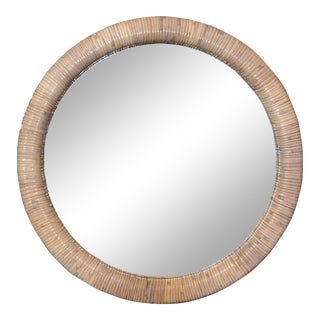 Mid-Century Modern Round Rattan Wall Mirror For Sale