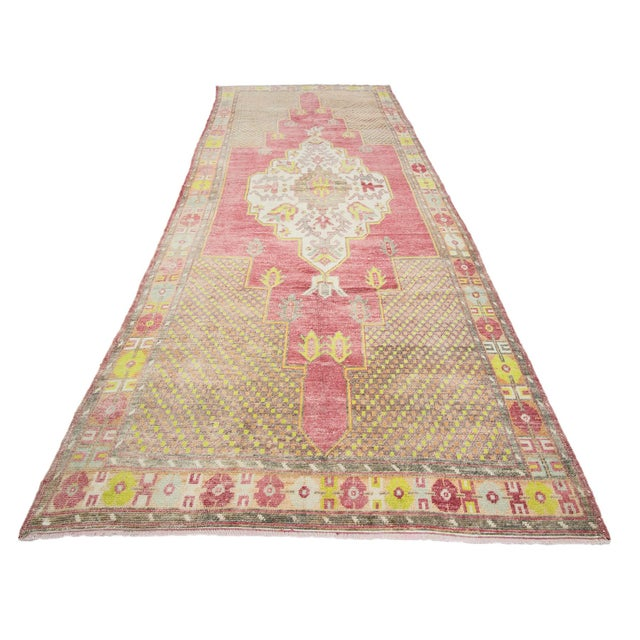 Vintage handknotted wool rug from Konya region of Turkey. Approximately 50-60 years old. In very good condition