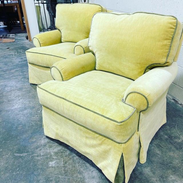 Velvet Lee Industries Swivel Rocker Club Chairs- Pair For Sale - Image 11 of 12