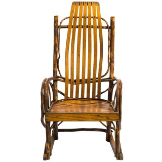 1950s Vintage Children's Adirondack Bentwood Oak Hickory Rocking Chair For Sale