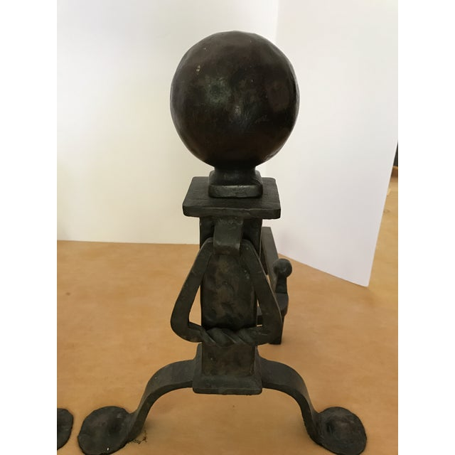 Traditional 1920s Traditional Black Cast Iron Fire Dogs Andirons - a Pair For Sale - Image 3 of 7