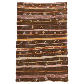20th Century Vintage Turkish Striped Kilim Tribal Rug - 7′2″ × 11′ For Sale