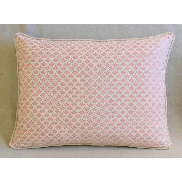"""Abstract Italian Mariano Fortuny Pink Canestrelli & Velvet Feather/Down Pillows 24"""" X 18"""" - Pair For Sale - Image 3 of 13"""