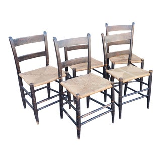 Set 5 Matched Period Antique Stenciled Country Rush Seat Side Chairs C1840 For Sale