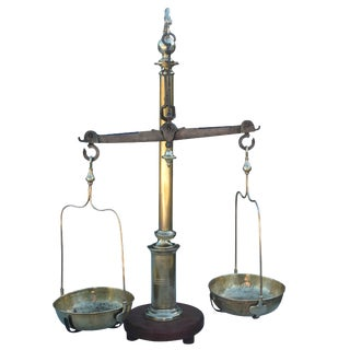 19th Century Antique Polished Bronze and Brass Scale For Sale