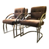 Image of Vintage 70s Milo Baughman Style Gold Toned Chrome Dining Chairs--Set of 4 For Sale